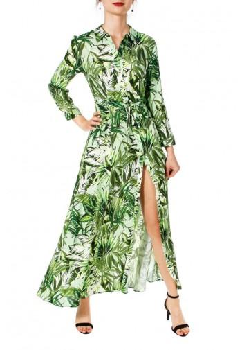 Sukienka Yana liście zielony