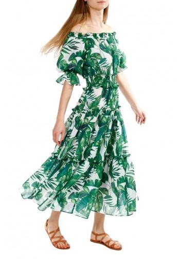 Sukienka Taja biało-zielony