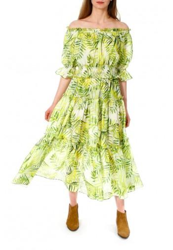 Dress Taja white-lime