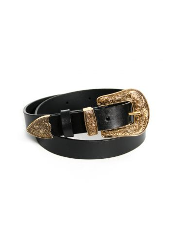 Leather belt Black-gold...