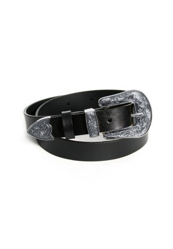 Leather belt Black-silver...